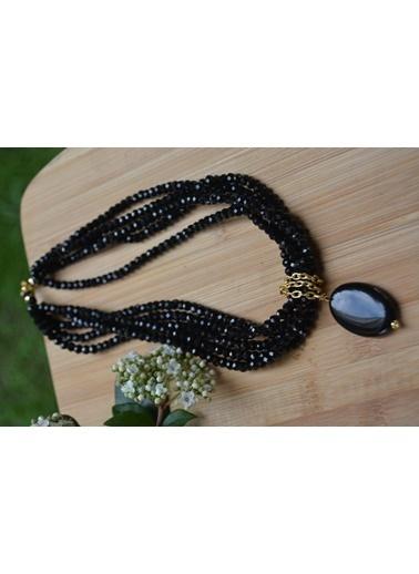 Stoneage Oniks Doğal Taş Tasarım Bayan Kolye Siyah